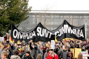 Omnia Sunt Communia 26 March 2013 Sussex University protest Bye Bye Maggie