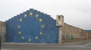 Murales a Ceuta. Recente tetro di mattanza con 13 migranti uccisi dalla polizia spanola.